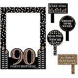 Bigドットの幸せの大人用90th Birthday – ゴールド – 誕生日パーティー写真ブース画像フレーム& Props – 頑丈な素材にプリント