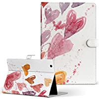 Lenovo Tab4 10 レノボ タブレット 手帳型 タブレットケース タブレットカバー カバー レザー ケース 手帳タイプ フリップ ダイアリー 二つ折り フラワー ハート イラスト 005560