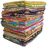 Mix Lot of Indian Tribal Kantha Quilts Vintage Cotton Bed Cover Throw Old Sari Made Assorted Patches Made Rally Whole Sale Bl