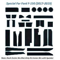 FUN-DRIVING カスタムフィットカップホルダーライナー フォードF-150 (2017-2019) ドアライナー センターコンソールライナー 2017-2019 F-150カップホルダーマット センターコンソールマット 30個セット(ブルートリム)