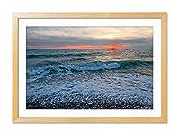 海空波サンセ - アートプリント木の色製フレームフレームポスター家の装飾(60x40cm)