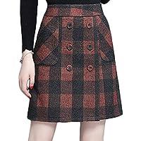 Youhan Women's High Waist Buttons Plaid A-Line Short Skirt
