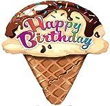 """カスタム、楽しい&クール{ XL Huge Giantサイズ27""""インチ–2.2フィート} 1単位のヘリウム&空気インフレータブルMylarアルミ箔バルーンW / Happy Birthday Iceクリームデザイン[ライトタンの、ピンクホワイト&ブラウン]"""