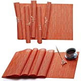 Hysenm Solid Color PVC Vinyl Table Placemats and Runner Set Bamboo Pattern Heat Resistant Table Mats, Orange, 1XTable Runner + 6Pcs Placemats