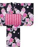 和がまま 女児 子供浴衣3点セット 古典 浴衣+兵児帯+下駄 (100, No.1)
