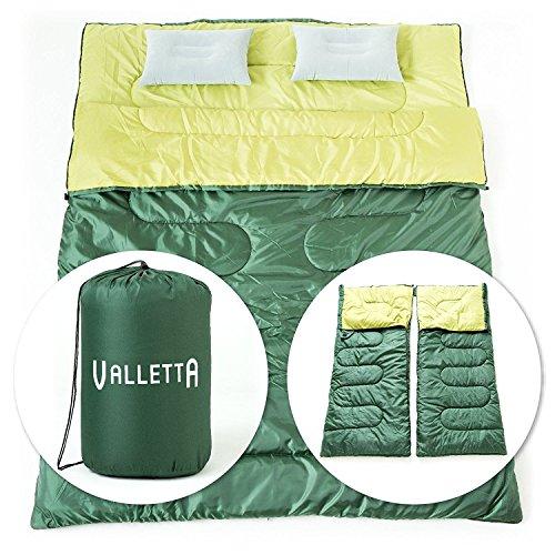VALLETTA 寝袋 封筒型 春・秋・冬用 2人用 最低使用温度 マイナス5度 エアピロー 2個付き
