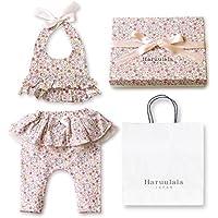 Haruulala Japan(ハルウララ) 出産祝い 女の子 オーガニックベビー服2点セット (スタイ+パンツ) (長袖_紙袋付き, 花たちの祝福)