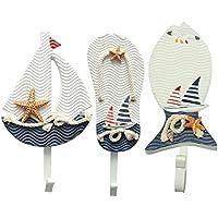 WWフック木製Nauticalコート帽子服タオルウォールハンギング装飾壁マウントキーフックメタルホームインテリア3pcs地中海スタイル