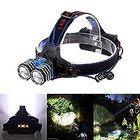 LEDヘッドライトスーパー明るい充電式懐中電灯3モードは、モバイル電源として使用することができます防水キャンプ作業ライトブルー