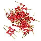 ノーブランド品 約100本 キャンディーバッグ 金属製 ツイストタイ ソフトタイ 蝶結び リボン付 レッド