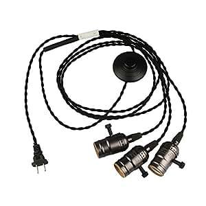 B2ocled LEDペンダントライト ソケット コンセント式 工事不要 オシャレ レトロ 電源スイッチ付き E26/ E27(3灯濃いグレー4m)