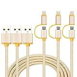 2in1ライトニングケーブルデータ転送ケーブル Lightning ケーブルUSBケーブ 3本セット1M ナイロンメッシュ 急速充電 高速データ転送 変換ケーブル ABタイプ iPhone7/7Plus/6splus/6s, iPad/iPod, Samsung, HTC, Androidなど多様の機種対応 ゴールデン