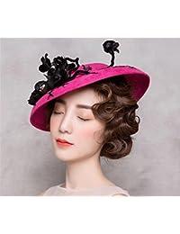 レディース Fascinator ローズレッドハットハットキャップウェディングヴィンテージ帽子アクセサリーカクテル