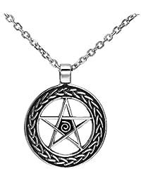Magical Wiccan Pentagram Pentacleペンダントステンレススチールネックレスメンズ( 21-inchチェーン)