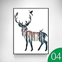 36214 写真壁画壁の壁画油絵動物北欧のリビングルームのダイニングルームのベッドルームの廊下の装飾 (色 : D, サイズ さいず : 23.6in*31.5in)