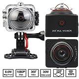 Flylinktech 360度 パノラマ カメラアクションカメラ WIFI 防犯カメラ フルHD 1080P 防水