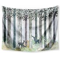 """カラフルなツリーのタペストリー壁掛け、サイケデリック壁掛け、ヒッピー自由奔放に生きるサイケデリックタペストリー、ベッドリビングルームのベッドルーム寮の装飾のためのヨガマットビーチタオルウォールデコレーション (Color : Deer 5, Size : 59.1""""x51.2"""")"""