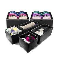 Sorbusテつョ Foldable Storage Drawer Closet Dresser Organizer - 6 Piece Set (Black) by Sorbus