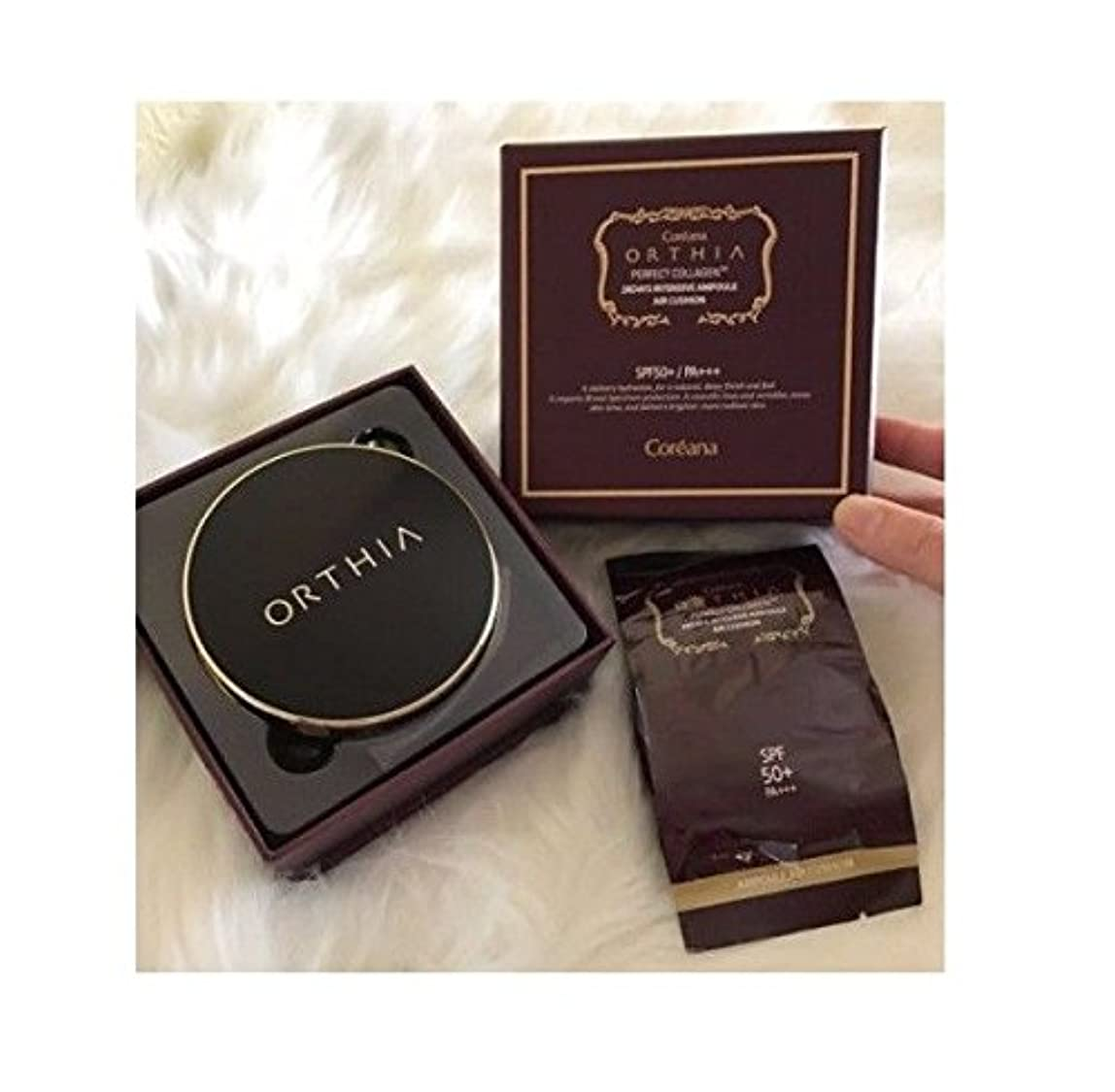 複雑コントラスト忍耐Coreana Orthia Perfect Collagen 28days Intensive Air Cushion SPF50+/PA+++(15g + Refill 15g)/Korea Cosmetics