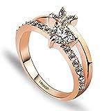 K.L.Y 指輪 レディース 華奢 リング フラワー ハート ダイヤモンドCZ リング18金RGPジュエリー ファッションアクセサリー レディースリング 高品質リング キラキラ レディースかわいい 指輪 2色展開 (ピンクゴールド)ギフト包装