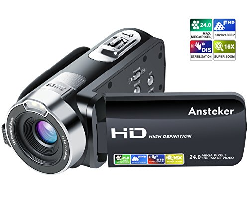 ビデオカメラ Ansteker ポータブルビデオカメラ 2400万画素 HD1080P 16倍デジタルズーム ビデオカムコーダー 3.0インチ液晶ディスプレイ 270度回転スクリーン SDカード(最大32GB) 日本語説明書&1年間の保証付き (ブラック)