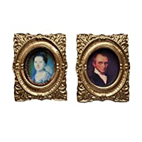 Melody Jane Dolls House 2 Victorian Portrait Pictures Paintings in Gold Frames