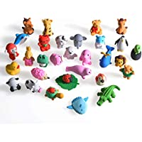 FunsLane 30個 消しゴム 子供用 テイクアパート鉛筆消しゴム ミニ 日本動物パズル消しゴム 可愛い動物園の動物コレクションセット ノベルティパーティーの記念品 学校の季節の教育ギフト