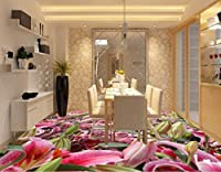 "FFYYJJLEI Romantic Tulip Flowers Custom Photo Self-Adhesive 3D Floor PVC Waterproof Floor 3D Floor Wallpapers -140(L)x70(W)(4'7""x2'4"")ft"