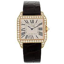 カルティエサントスDumont wh100351工場ダイヤモンド18Kローズゴールドクオーツレディース腕時計
