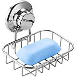 iPEGTOP Super Powerful Vacuum Suction Cup Soap Dish - Strong Rustproof Stainless Steel Sponge Soap Holder for Bathroom & Kitchen