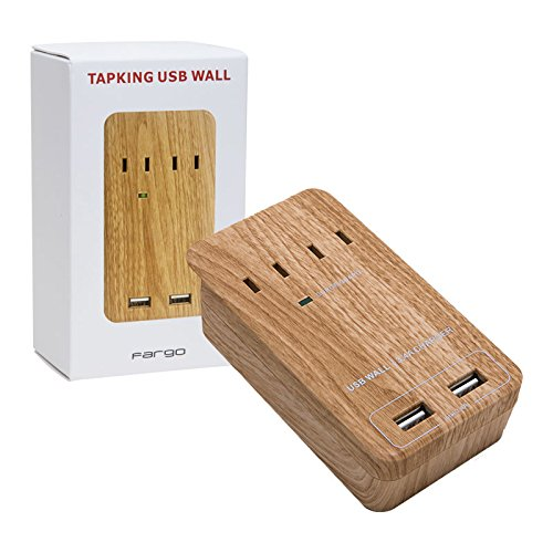 Fargo インテリア 壁挿し 電源タップ TAPKING USB WALL 急速充電 雷サージガード 木目調 デザイン AC2個口 コンセント PT221BEWD