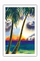 空中に音楽があります - ハワイアンサンセット - オリジナルハワイ水彩画から によって作成された ペギー チュン - プレミアム290gsmジークレーアートプリント - 61cm x 91cm