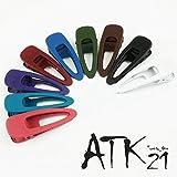 [ATK21] (Sサイズ) オープン オーバル マットカラー クリップピン ダッカール シンプル 無地 前髪 艶消し レディース ヘアアクセサリー 大人 (ブラック)