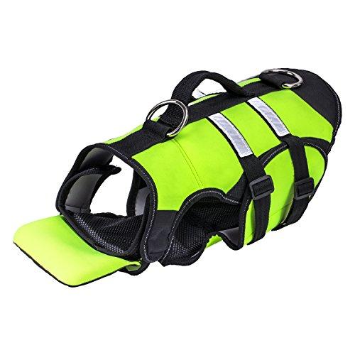ペット用ライフジャケット - Pawaboo ハンドル付き 大中小型犬猫用 救命胴衣 ベスト・コート フローティングベスト水遊び用 運動用 トレーニング用 XLサイズ Fluorescence Green+Black