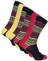 6組 メンズソックス 竹 靴下 抗菌 抗臭 吸湿 西部の 26-30 cm (Fairsle Red & Yellow) [並行輸入品]