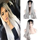 Dreambeauty Synthetic Hair 2 Tone Ombre Gray Glueless Lace Front Long Gray Wigs for Black and White Women Cosplay Wavy Black Root Hair Replacement Wig [並行輸入品]
