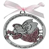 Guardian Angel Baby Crib Medal - Christening - Baptism - Shower Gift - Infant (Girl - Pink)