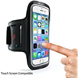 Sports Running Armband for iPhone X, XS, 8, 7, 6, 6s, iPod, Samsung Galaxy S9, S8, S7, S6, S5, S4 | Suitable for Walking, Jogging, Gym and all your fitness activities | Water Resistant & Touch Screen Compatible with Keyholder | Arm Phone Holder with Adjustable strap for all men and women