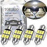TORIBIO 4個入り 無極性 車内ランプ T10×31mm 6SMD LEDルームランプ Festoon 6418 C5W 1.25インチ31mm Canbus エラーフリー 両口金タイプ ホワイト 6000K 車用
