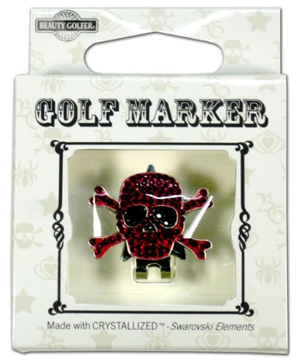 ベーリング海峡政治家の流用するゴルフ マーカー BG-18 ドクロ ワインレッド