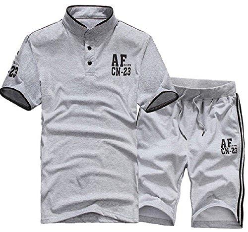 kimurea select ジャージ スエット 半袖 上下 セット アップ スポーツ ジム ヨガ トレーニング ウェア (Mサイズ, グレー)