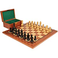 German Knight Stauntonチェスセットin Ebonized Boxwood & Boxwood withマホガニーボード&ボックス – 3.25