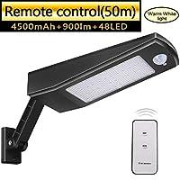 ソーラーライト、48 LED 4500mAh IP65防水屋外防犯ブラックライト調節可能な角度ブラケット/ 120°モーションセンサー屋外ライトガーデン用リモートコントロール
