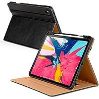 DTTO iPad Pro 11インチ 2018ケース 鉛筆ホルダー付き プレミアムレザーフォリオスタンドカバー [Apple Pencilペアと充電サポート] 自動スリープ/ウェイク機能付き iPad Pro 11インチ用 ブラック