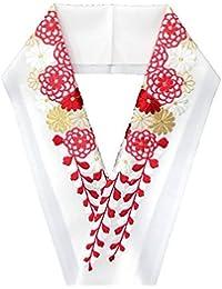 刺繍半襟 半衿【白地に赤白金 菊垂れ藤】日本製 シルエリー