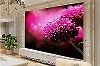 Yosot 3Dの壁紙カスタムの壁画の不織布の写真の大きな紫色の花テレビの背景画のリビングルームのための 3Dの壁の壁画の壁紙-400Cmx280Cm