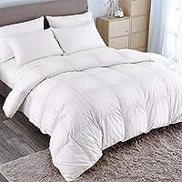 puredown Goose Down Comforter 600 Fill Power Cotton Shell 500 Thread Count Stripe King/Cal King White [並行輸入品]