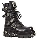 New Rock Shoes - Lace Up Leather Boots with Skull Buckles UK 9 / Black