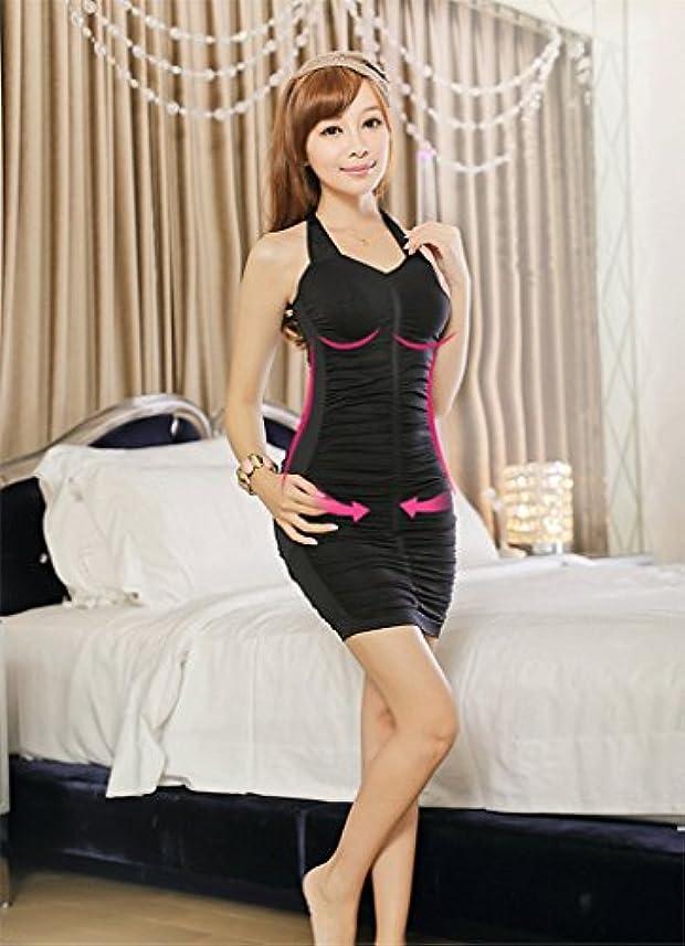 リズムギャンブル司書Remeehi シェイプアップ 首掛けコルセット 産後ケア くびれ ワンピース式デザイン FREE Black