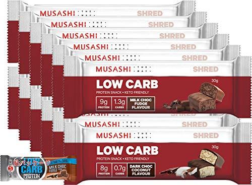 MUSASHI(ムサシ) ローカーボ プロテインバー (12本入)[海外直送品] (ミルク チョコファッジ + ダーク ...